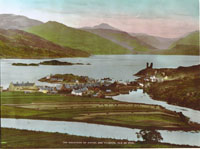 Circa 1935 - Kyleakin from Kyle Farm area at high tide with crofts in usage. Note numbers 1 and 2 Kyleside and no Village Hall