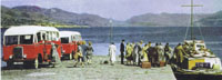 Circa 1950 - MV Coruisk passenger ferry owned by British Rail at Kyleakin Pier