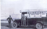 Circa 1930 - Nicolson's Portree Motor Coach Company bus waiting at Kyleakin Corran
