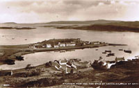 Circa 1930 - View of Pier from Cnoc na Errich. Note the MacInnes's cottage (Hector Grant's Granny) where Coille Bhurich's garden is now