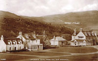 Early 1950's - Kyleakin from the War Memorial. Note the path to the reservoir from Kyle Farm, Seaview Cottage (first left) was replaced by the Marine Hotel dining room during the late 1950's.  Heathmount Hotel (now Saucy Mary's) - also the bungalow between the Hotel and the Church  was the Triton Hotel and is now the extension to Saucy Mary's.  The Marine Hotel became the SYHA in 1984 and in 2011 was converted into 12 flats by Lochalsh and Skye Housing Association