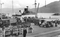 1960 - MacBraynes - Loch Nevis at Kyle Railway Pier - mailboat to Portree and Raasay from Mallaig via Kyle. Note also Tommy Pollock's lorry & GPO van