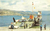 Early 1970's - The Kyleakin and Lochalsh ferries arrived in 1971, they were the first roll-on-roll-off ferries on this service.  Bill Paterson, the local barber is standing on ramp.