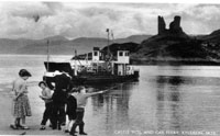Circa 1955 - A four car turntable ferry, ferryman Dave Robertson with children fishing - Ann Nicolson, Susan ?, Roderick MacLean and Richard ? (with fishing rod) Susan and Richard were regular visitors to Mr and Mrs Smith, 16 Kyleside