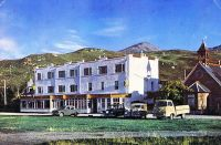 Marine Hotel newly refurbished late 1950's. Note the Bell tower is still on the Free Church.