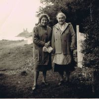 On the right is Maggie MacAskill (Ann Danskin's auntie) with possibly one of her bed and breakfast guests outside Kyle View, Kyleakin