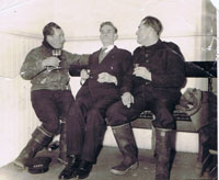 Circa 1960 - Crew in the ferry waiting room - from left to right:  Angus MacPherson (Speedy), Charlie Cameron and Alistair Finlayson